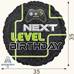 "шар из фольги ""Next level"" Happy Birthday"