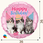 "шар из фольги ""Котята"" Happy Birthday"